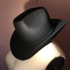 Vintage black wool felt cowboy hat